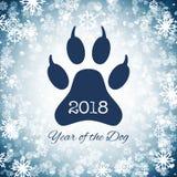 Det nya året av hundferievykortet med tafsar fotspåret, vektor royaltyfri illustrationer