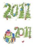 Det nya året Cards wuthgåvor och hjärtor stock illustrationer
