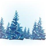 Det nya året dekorerade mallen för hälsningar med julgranar med bollar som isolerades vektor illustrationer