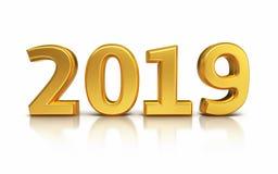 Det nya året 2019 gul 3d framför royaltyfri foto