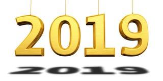 Det nya året 2019 gul 3d framför royaltyfria foton