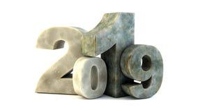 Det nya året marmorerar text 2019 stock illustrationer