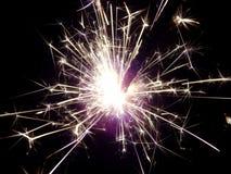 Det nya året med tomtebloss gristrar på en svart bakgrund Royaltyfria Foton