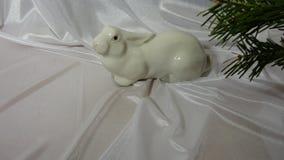 Det nya året oavbrutet tjata för kaninträdet för det nya året vit gräsplan royaltyfri foto