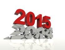 Det nya året 2015 och gammal 2014, framför 3D. Royaltyfri Fotografi