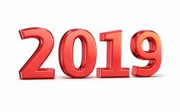 Det nya året 2019 röd 3d framför royaltyfri fotografi