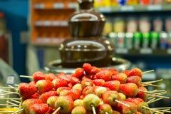 Det nya söta jordgubbepinneslutet upp med choklad flödar bakgrund Royaltyfri Bild