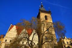 Det nya stadshuset (tjeck: Novoměstská radnice), gamla byggnader, ny stad, Prague, Tjeckien Arkivbild