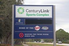 Det nya tecknet på de komplexa CenturyLink sportarna Arkivbild