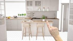 Det oavslutade projektet, under konstruktionsutkast, begreppsinredesignen skissar, räcker att peka verkligt scandinavian kök med arkivbild