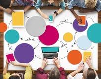 Det olika folket räcker Team Busy Devices Concept Arkivbilder