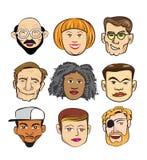 Det olika gladlynta folket vänder mot begreppsgruppen Stock Illustrationer