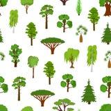 Det olika gröna trädet skriver sömlös modellbakgrund vektor Arkivbilder