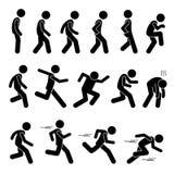 Det olika mänskliga manfolket som går den rinnande löparen, poserar diagramet Stickman Pictogramsymboler för ställingsvägpinnen Arkivfoto