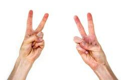 Det olika tecknet som göras av handen, tecknet av segern, tecken av segern vid handen, bilder av handdanandesegern, undertecknar Royaltyfria Foton