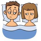Det olyckliga barnet kopplar ihop i säng, problem, familjkris Tecknad filmdesignsymbol Plan vektorillustration Isolerat på vit stock illustrationer