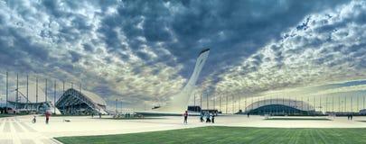 Det olympiskt parkerar i semesterortstaden av Sochi, Krasnodar Krai, Ryssland Royaltyfri Bild