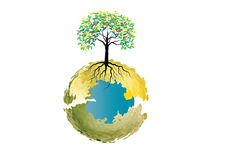 Det organiska begreppet för natur eller det Eco systemet för symbol- eller bakgrundsträd med rotar Arkivfoton