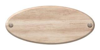 Det ovala trätecknet som göras av ljust trä och fästs med, spikar arkivfoton