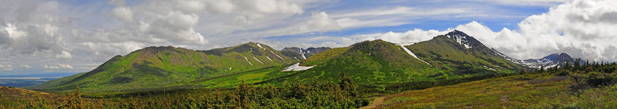 Det panorama- alaskabo berg beskådar Royaltyfri Bild