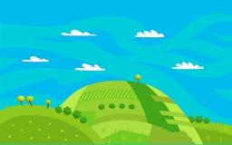 Det panorama- landskapet med gröna kullar för tecknade filmen, blå himmel och vit fördunklar också vektor för coreldrawillustrati stock illustrationer