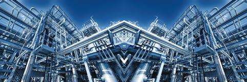 Det panorama- olje- raffinaderit beskådar Royaltyfri Bild
