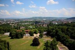 Det panorama- skottet av Stuttgart från tornet i Killesberg parkerar Killesbergpark i Stuttgart, Tyskland Fotografering för Bildbyråer