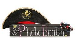 Det Photobooth tecknet med piratkopierar hatten och solglasögon Royaltyfri Bild