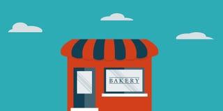 Det plana bagerit shoppar framme av blå himmel Royaltyfri Fotografi