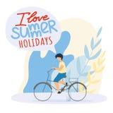 Det plana barnet rider cykeln, mig älskar sommarferier stock illustrationer