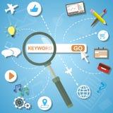 Det plana designbegreppet av analytics söker information och SEO-optimization Arkivbilder