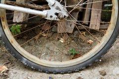 Det plana gummihjulet för bakre hjul av cykeln Royaltyfria Foton