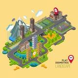 Det plana vektorlandskapet med a parkerar, byggnader, placeringområde Fotografering för Bildbyråer