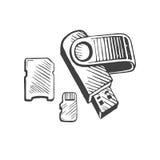 Det pråliga minnet USB och den drog korthanden skissar vektor illustrationer