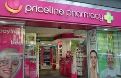 Det Priceline apoteklagret på Oxford st Priceline är en av de största australiska hälso- och skönhetåterförsäljarna, ägt och fung Arkivbild