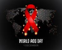 Det röda bandet av hjälpmedelmedvetenhet med text för 1st den December världen bistår dag gammal värld för illustrationöversikt i stock illustrationer