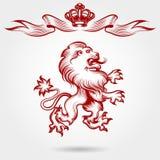 Det röda den gravyrlejonet och kronan skissar royaltyfri illustrationer