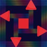 Det röda glass triangulära tecknet med färgrika linjer planlägger Fotografering för Bildbyråer
