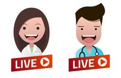 Det röda lutningLive Stream tecknet med sjuksköterska- och doktorsavataren ställde in Fotografering för Bildbyråer
