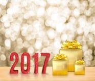Det röda lyckliga nya året 2017 3d som framför, blänker ord och guld- p Arkivbilder