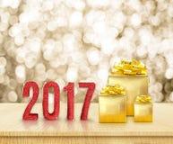 Det röda lyckliga nya året 2017 3d som framför, blänker ord och guld- p Arkivfoton