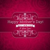 Det röda moderns kortet för hälsningen för dag med rosor och önskaen smsar Royaltyfria Bilder
