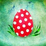 Det röda ägget med polka pricker Royaltyfria Bilder