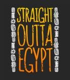 Det raka outtaEgypten uttrycket med hieroglyf, t-skjorta skrivar ut Royaltyfri Fotografi