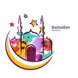 Det Ramadan Kareem hälsningkortet med vattenfärgen isolerade illustrationen av den flerfärgade moskén på månen royaltyfria bilder