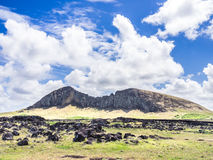 Det Rano Raraku berget Royaltyfri Bild