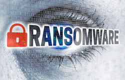 Det Ransomware ögat med matrisen ser tittarebegrepp Arkivbilder