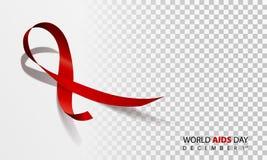 Det realistiska röda bandet, värld bistår dagsymbolet, 1 december, vektorillustration Royaltyfri Foto
