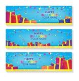 Det redigerbara banret för den lyckliga födelsedagen med garnering för gåvaaskar och konfettiställde in blått bakgrundsbaner royaltyfri foto