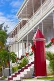Det regerings- huset på St Thomas Island under jul kryddar Arkivfoto